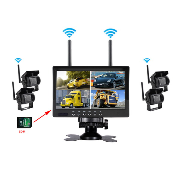 2.4G Wireless Digital 4 Channel CCTV Monitor recording cameras